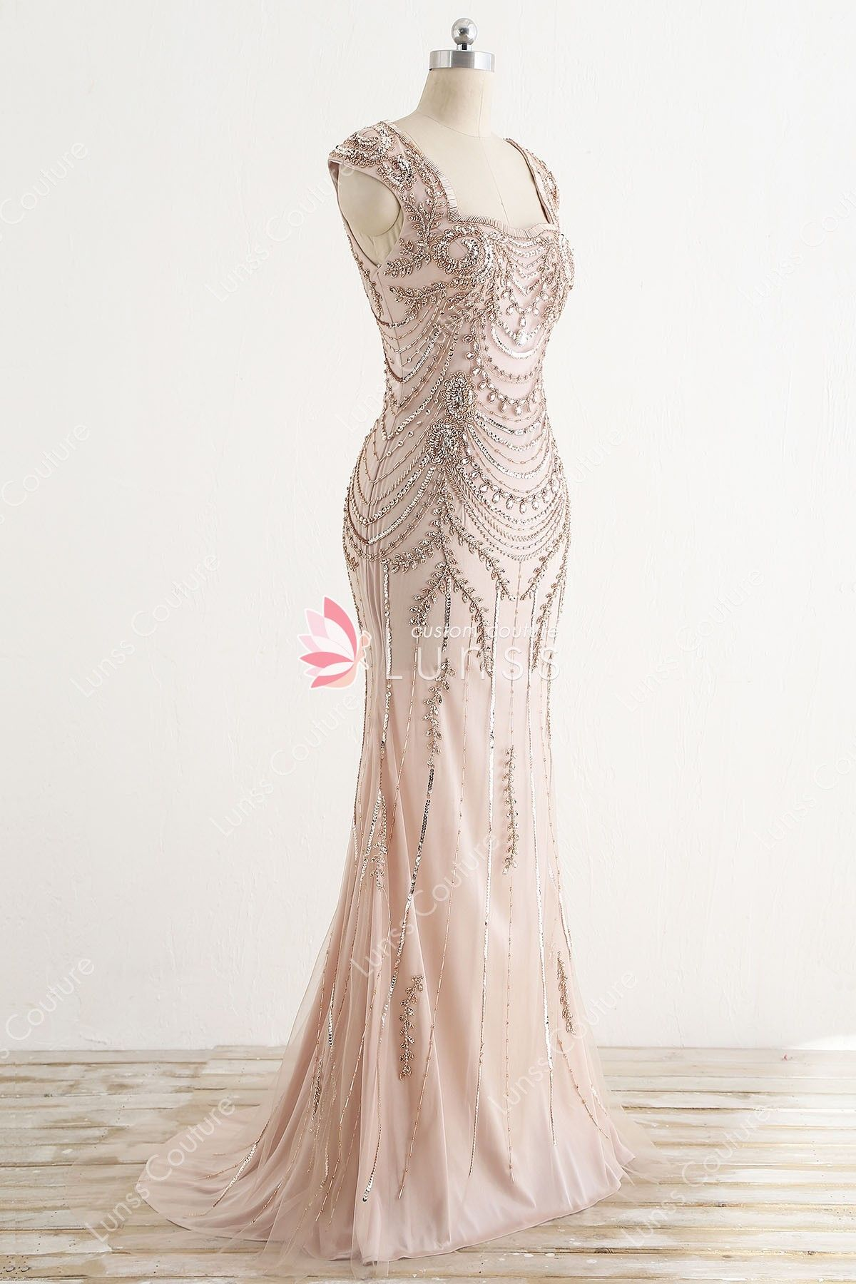 Sparkling beading rhinestone floorlength fit and flare gold evening