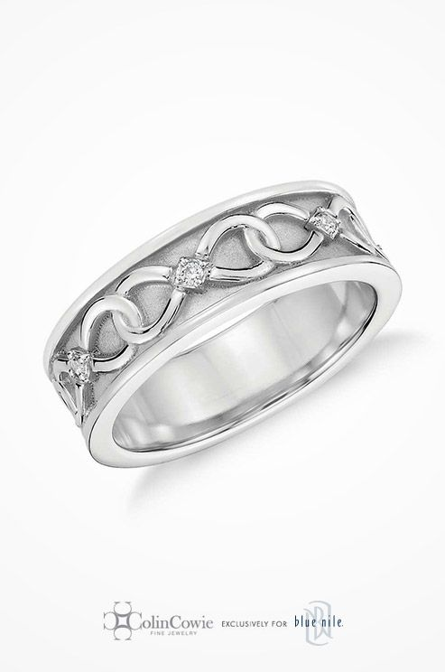 Colin Cowie Diamond Infinity Wedding Ring In Platinum Bold And Unique This Men S Wedding Band Feat Silver Jewelry Fashion Wedding Rings Infinity Ring Wedding