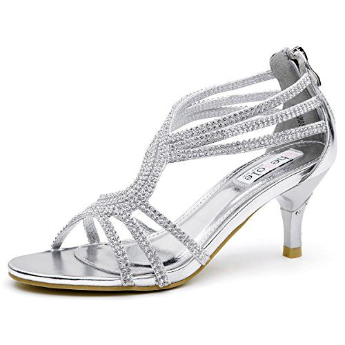 SheSole Womens Metallic Low Heels Sandals Rhinestones Evening ...