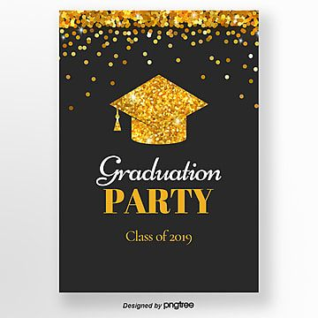 الذهب الأسود الترتر قبعة التخرج التخرج رسالة دعوة قالب Graduation Party Invitations Templates Party Invite Template Graduation Party Invitations