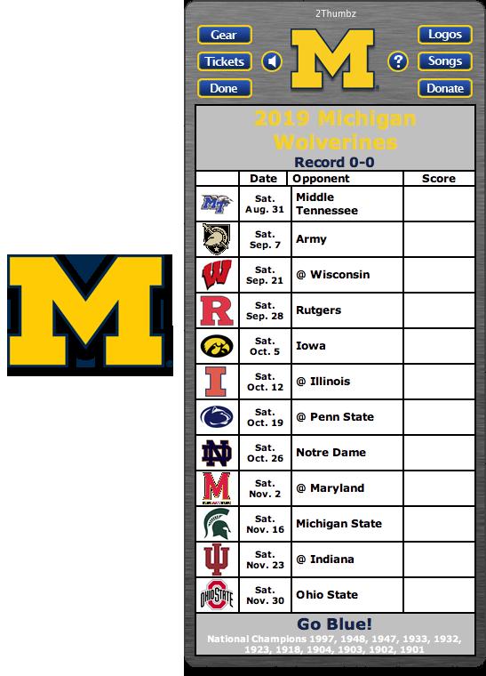 2019 Michigan Wolverines Football Schedule Dashboard