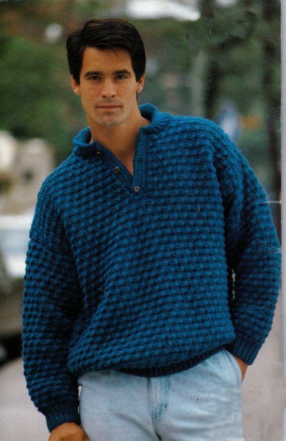 V- neck knitted sweater pattern, for men, vintage 1080s ...