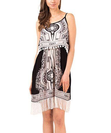 Another great find on #zulily! Black & White Geometric Fringe Blouson Dress #zulilyfinds