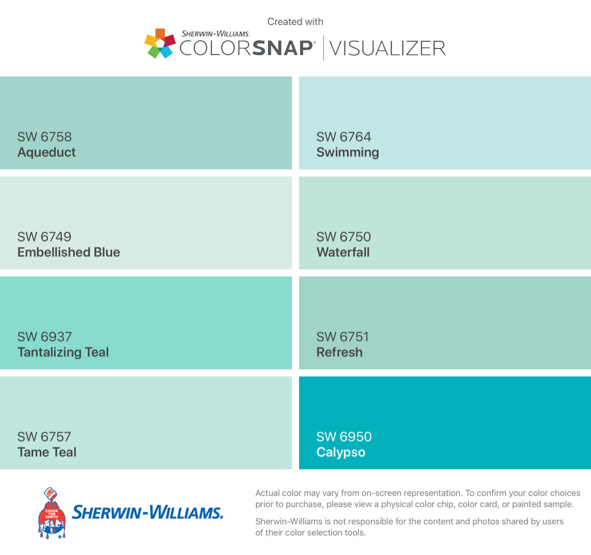 I Found These Colors With Colorsnap Visualizer For Iphone By Sherwin Will Teal Paint Color Sherwin Williams Aqua Paint Color Sherwin Williams Light Teal Paint