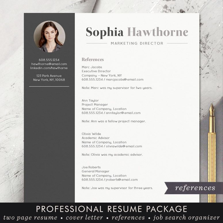 Resume Template With Photo  Professional Modern Cv Word Mac
