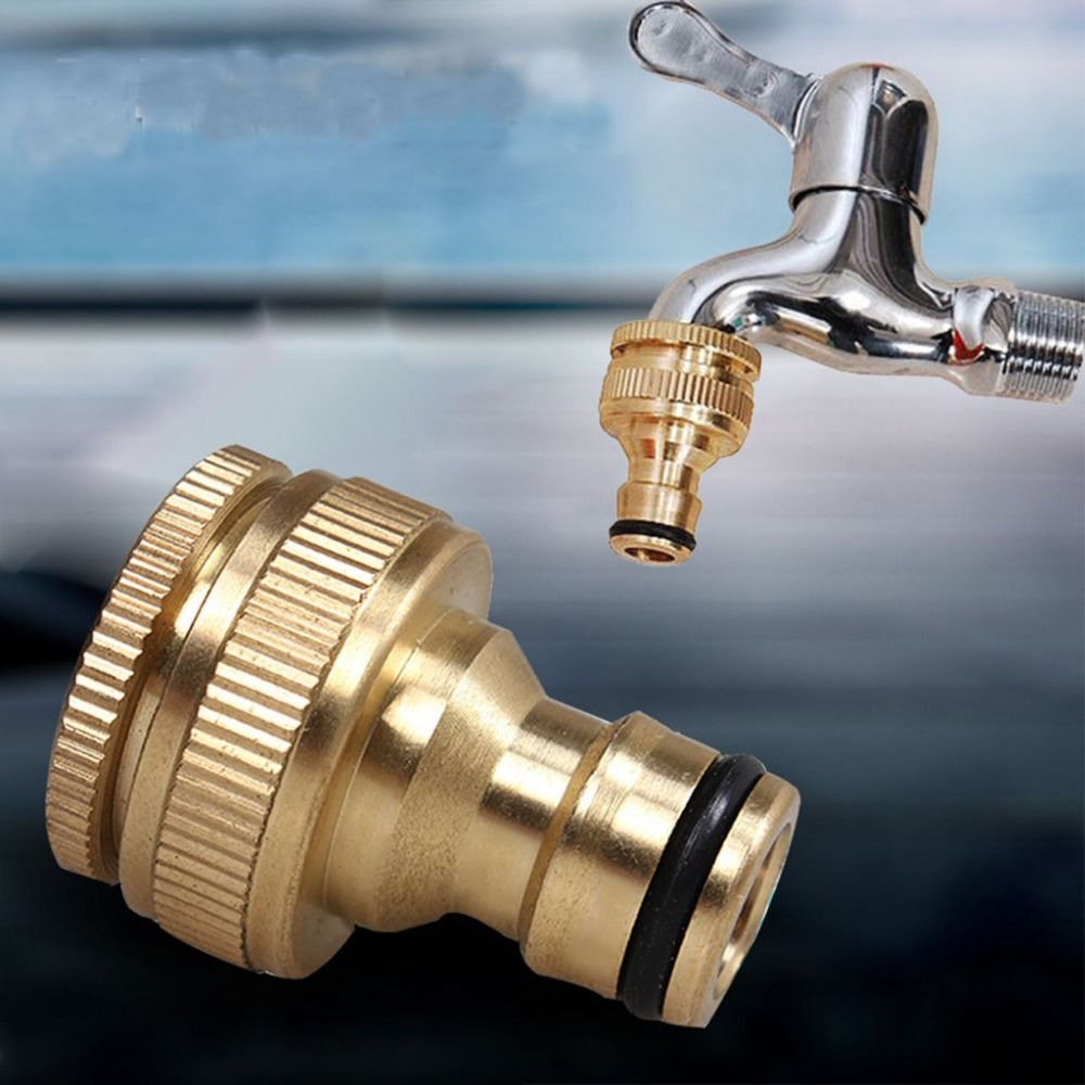 New Brass 3 4 Threaded Tap Connector Fits 1 2 Snap Fittings Garden Hose Water Hose Brass Faucet Copper Fittings