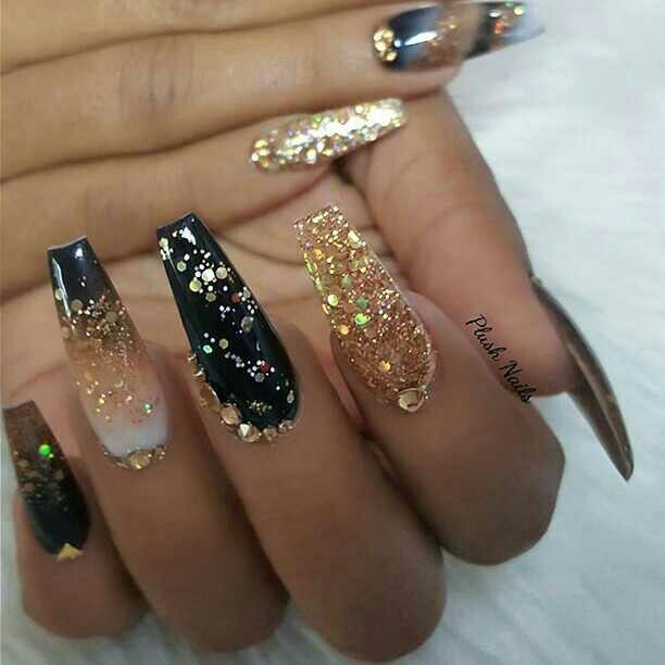 Black Gold Nails Acrylic Nails Coffin Glitter Gold Nails Black Coffin Nails