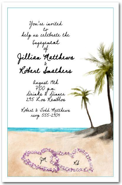 Summer Party Invitations Beach Orchid Leis Invitation Wedding Reception