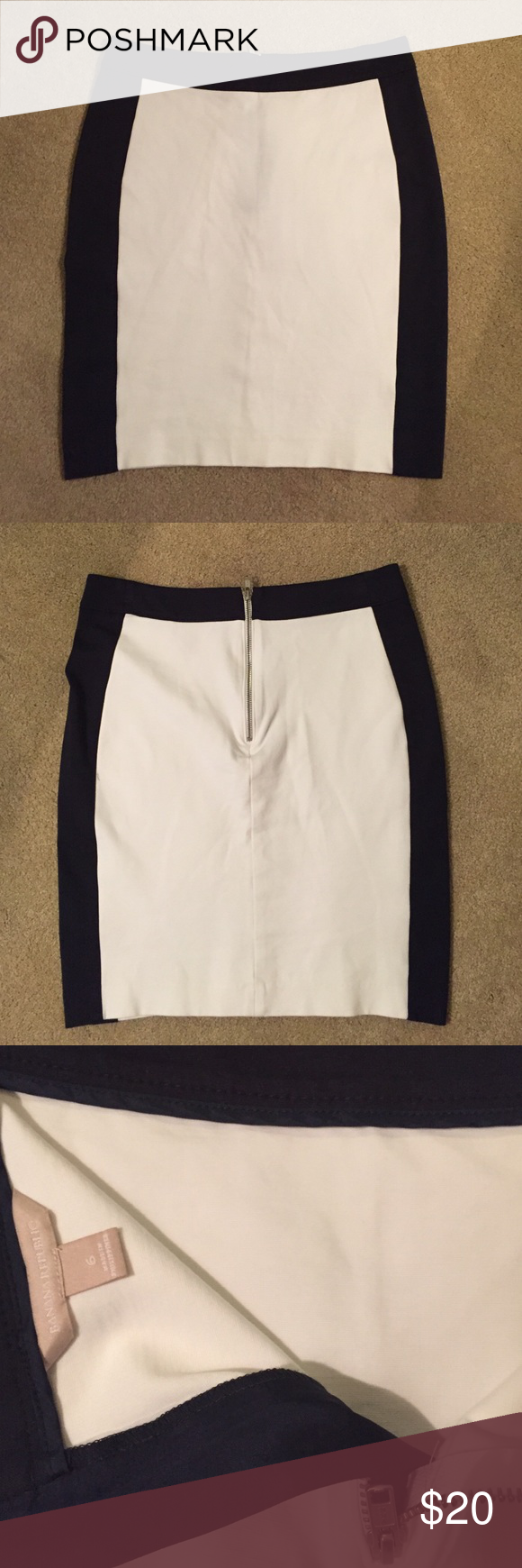 Banana Republic size 6 skirt NWOT Banana Republic size 6 black and white skirt. Pencil skirt with zipper in back. NWOT! Very cute! 19' length, 17 3/4' hip (approx.) Banana Republic Skirts Pencil