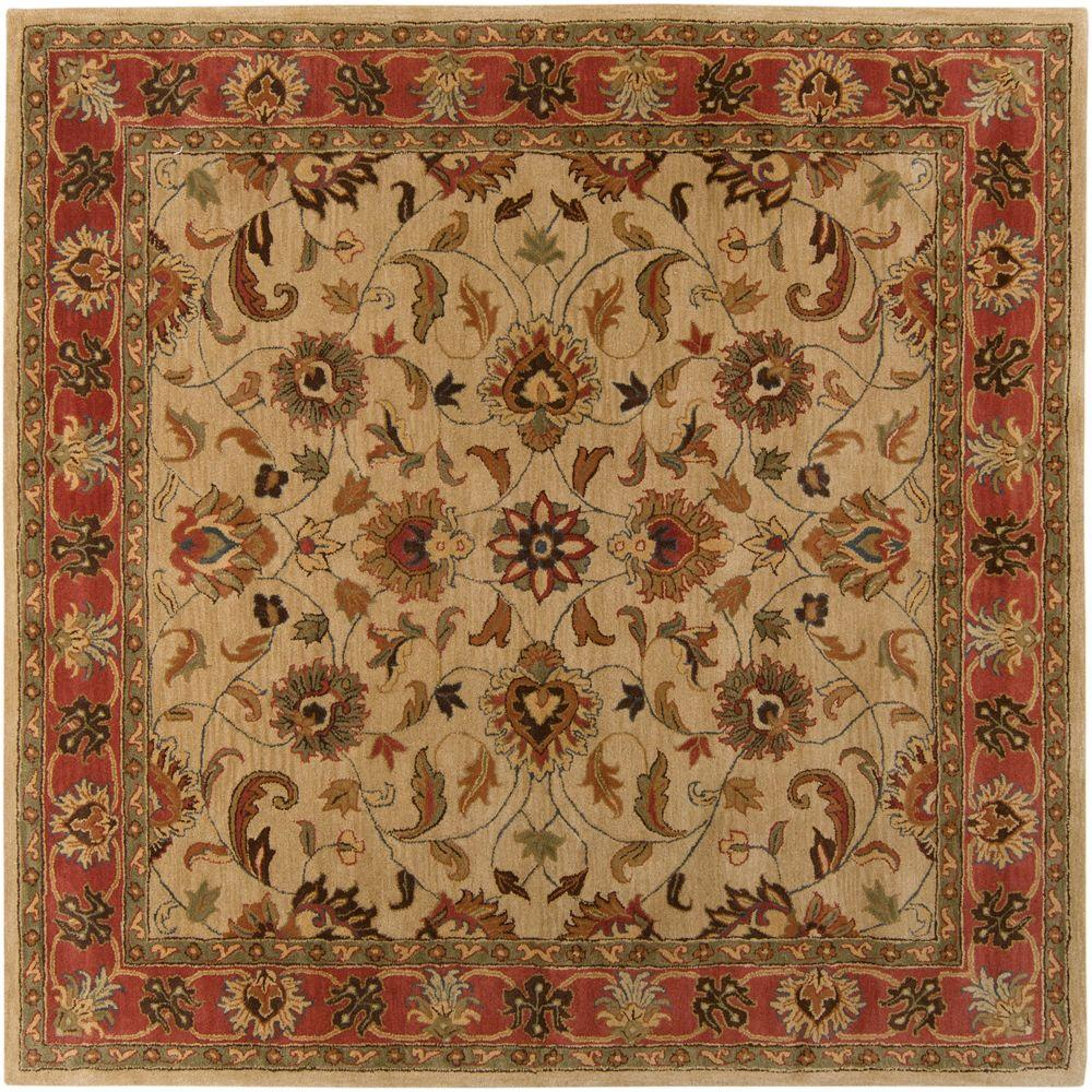 John Beige 9 Ft 9 In X 9 Ft 9 In Square Area Rug Area Rugs Traditional Area Rugs Wool Area Rugs
