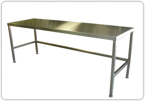 Beau Stainless Steel Table. I Prefer The Use Of Used Restaurant Prep Tables  Instead Of The Usual Fare. Such Easy Clean Up And Will Last Forever.