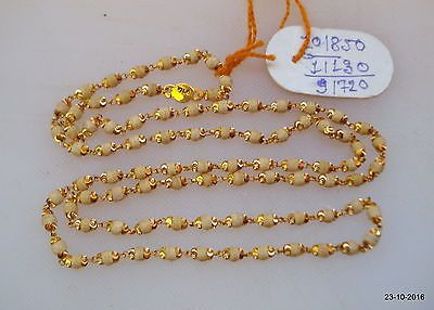 Traditional Design 22kt Gold Chain Necklace Handmade Tulsi Mala Beads Ebay Beautiful Gold Necklaces Gold Chains Gold Jewellery Design