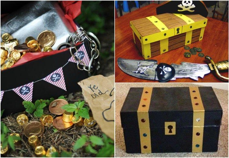 Schuhkarton Basteln Kinder Schatzkiste Kindergeburtstag Piraten