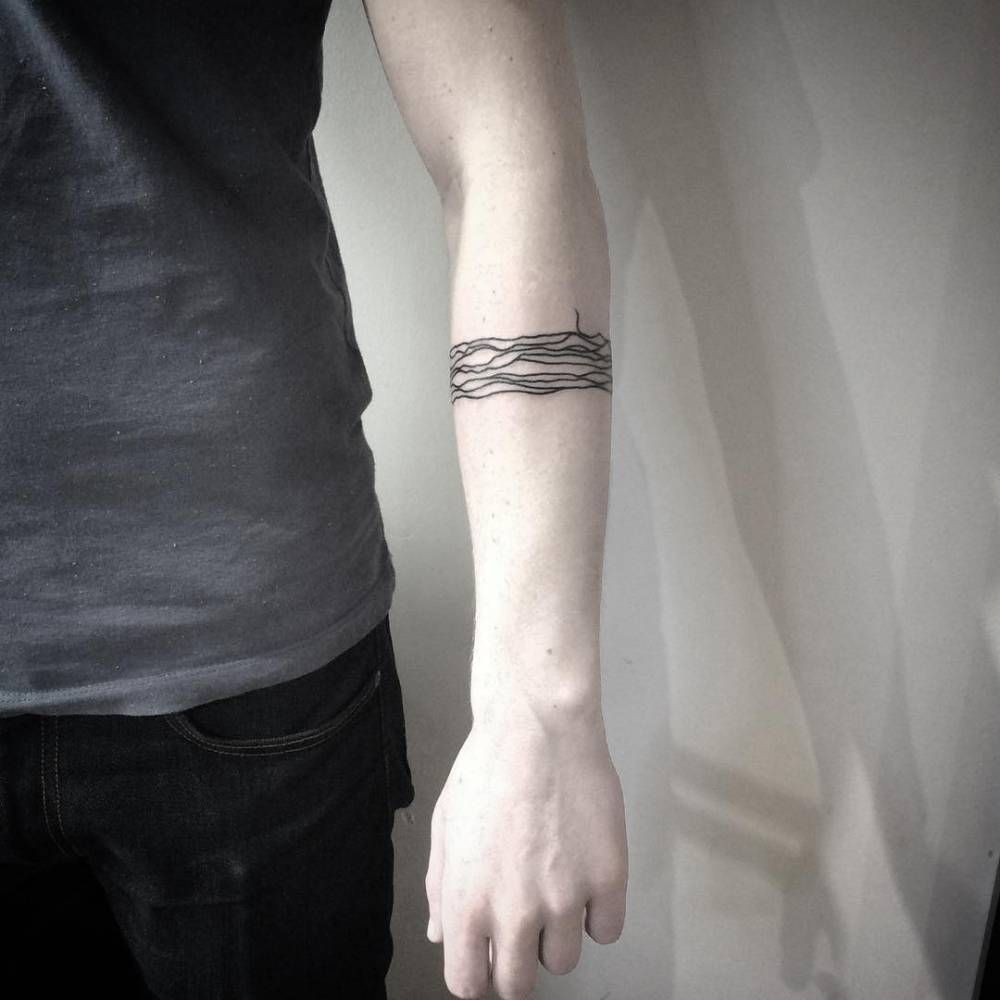 Abstract Armband Tattoo On The Left Forearm Arm Band Tattoo Line Tattoos Tiny Tattoos For Women