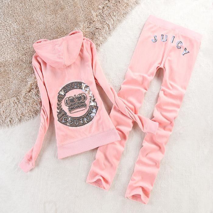 Juicy Couture Crown Velour Tracksuit 2196 2pcs Women Suits Pink ... 18b9ecb08e