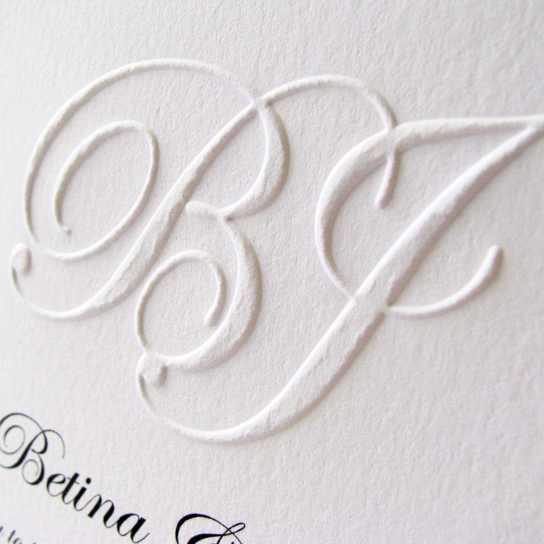 Embossed wedding invitations Custom Monogram. $12.00, via Etsy ...