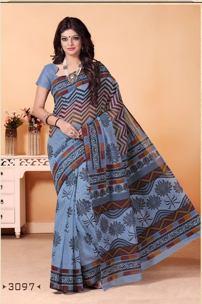 a7ab2734969 Buy Now Multicolor New Printed Cotton Casual Wear Saree With Running Blouse.