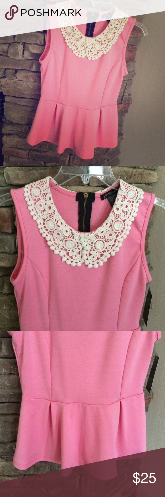 Pink Crochet Peter Pan Collar Peplum Adorable girly peplum top that is new with tags attached. Looks great with skinny black pants. Love the crochet detail! Exposed zipper at the top of the back. 67% polyester 28% rayon 5% spandex Grass Collection Tops