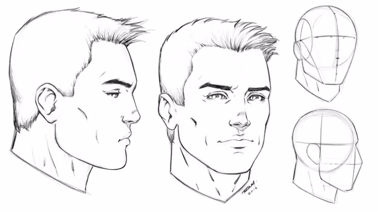 How To Draw The Male Face Angle And Profile View Step By Step Youtube Drawings Male Face Face Angles