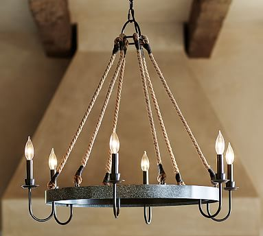 A Rustic Iron Barrel Hoop Hangs From Six Thick Rope Cords Bringing Wine Country Style To Wine Barrel Chandelier Pottery Barn Chandelier Dining Light Fixtures
