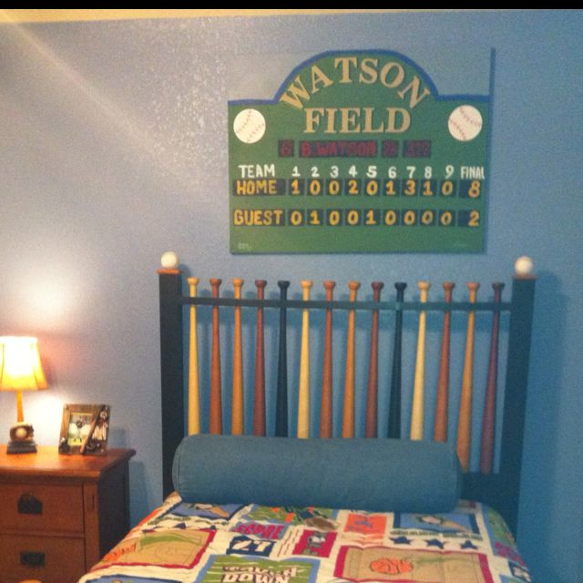 Scoreboard hand painted canvas for children 39 s baseball for Baseball scoreboard wall mural
