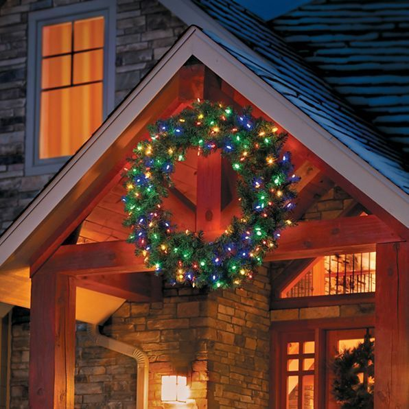 Outdoor lighted brilliant oversized christmas wreath 4 sizes 3 outdoor lighted brilliant oversized christmas wreath 4 sizes 3 color options wreaths aloadofball Choice Image
