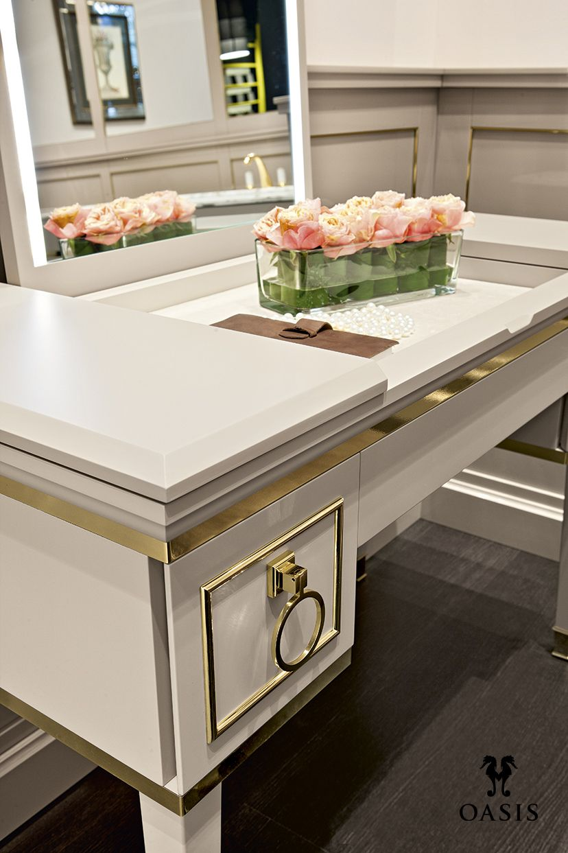 Lutetia Collection by Massimiliano Raggi architetto for Oasis Group brass metal trim vanity cabinet