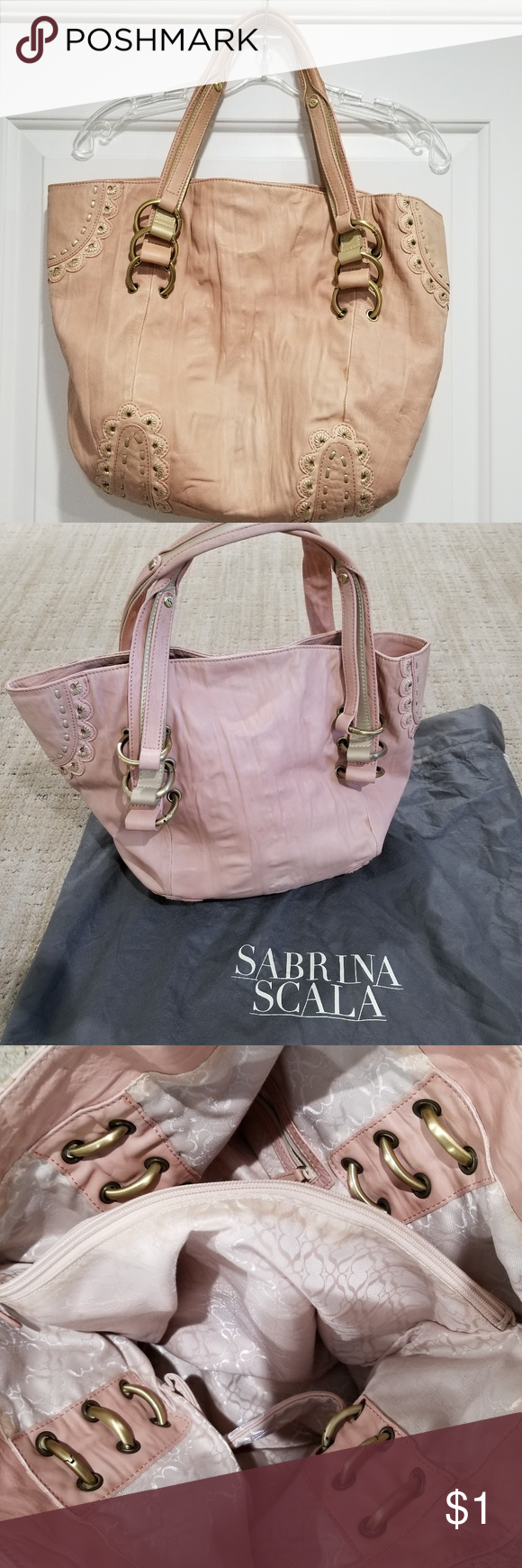 Sabrina Scala Satchel Leather Handbag Pink Purse This Is A Beautiful