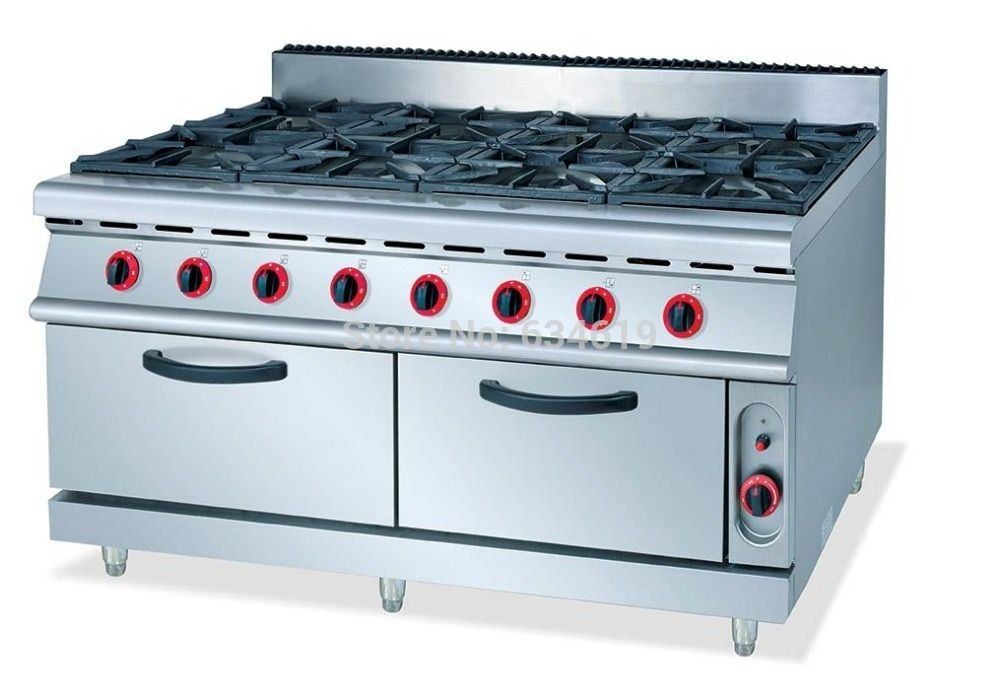 Commercial 8 Cookers Gas Kitchen Stove Food Cooking Propane Stove Stainless Steel Gas Cooking Stove With 8 Burners Propane Stove Kitchen Stove Gas Cooker
