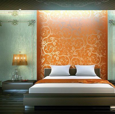 marvellous bedroom decor gold walls   gorgeous orange and gold stencil bedroom accent wall ...