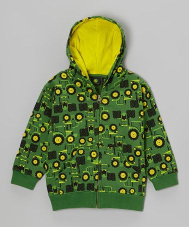 Another great find on #zulily! Green Tractors Zip-Up Hoodie - Infant & Toddler #zulilyfinds