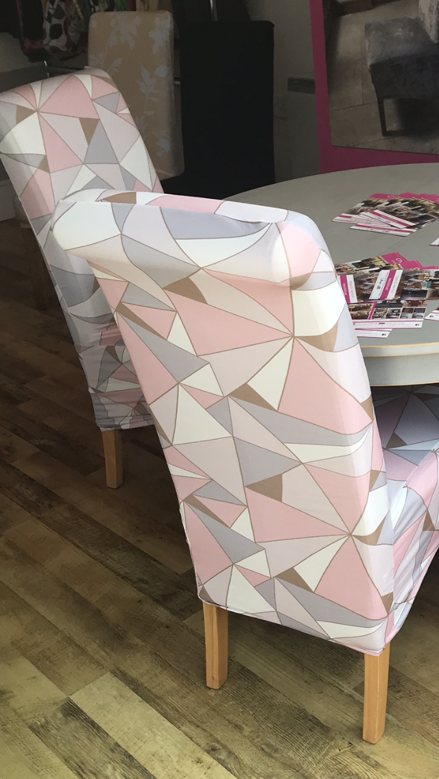 Astounding Rose Gold And Pink Geometric Chair Cover Chair Covers Alphanode Cool Chair Designs And Ideas Alphanodeonline