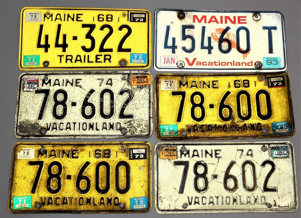 Six Vintage Maine License Plates Worn Distressed Staging Man Cave