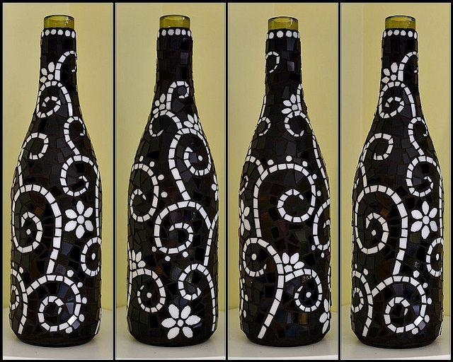 Black And White Mosaic Wine Bottle Mosaic Bottles Painted Wine Bottles Glass Bottle Crafts