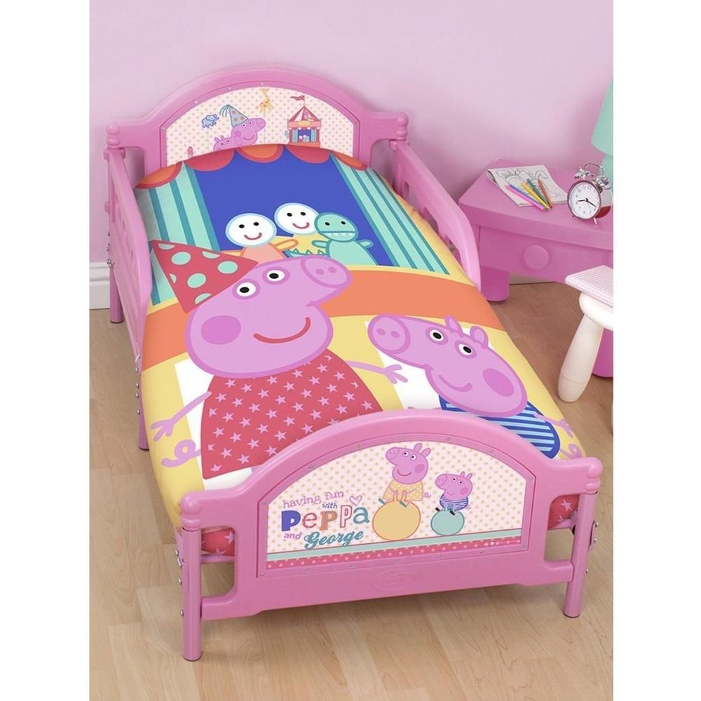 Junior Cot Bed Duvet Cover Pillow Case Set Toddler Peppa Pig George Funfair