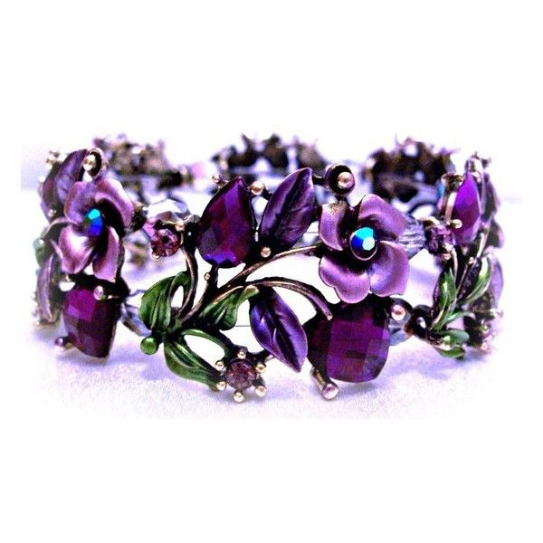 Bracelet Purple Roses Hearts Jewelry Design ❤ liked on Polyvore