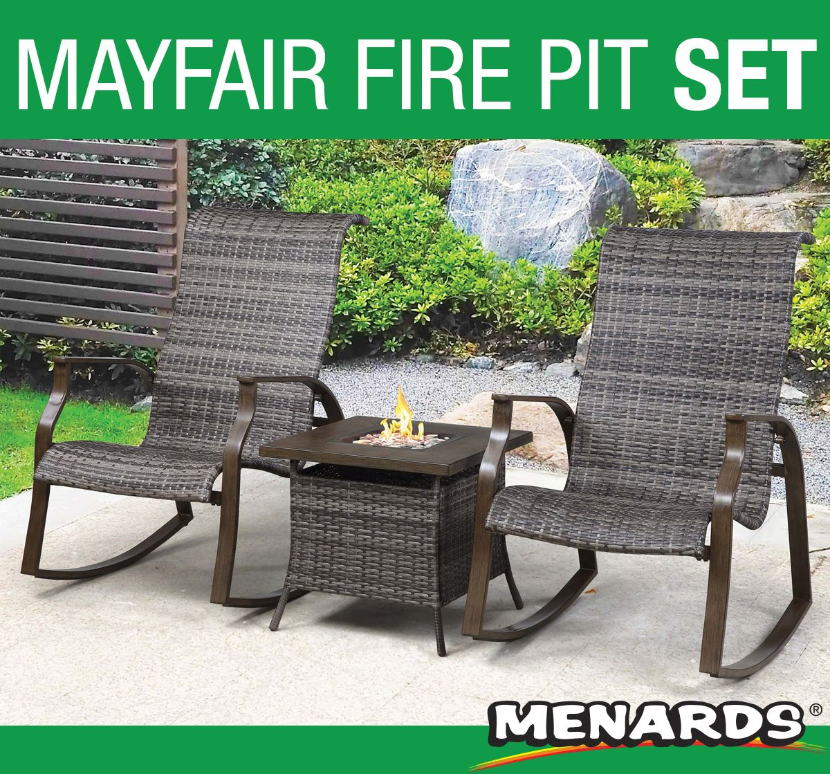 The Backyard Creations Mayfair 3 Piece Fire Pit Chat Set Is