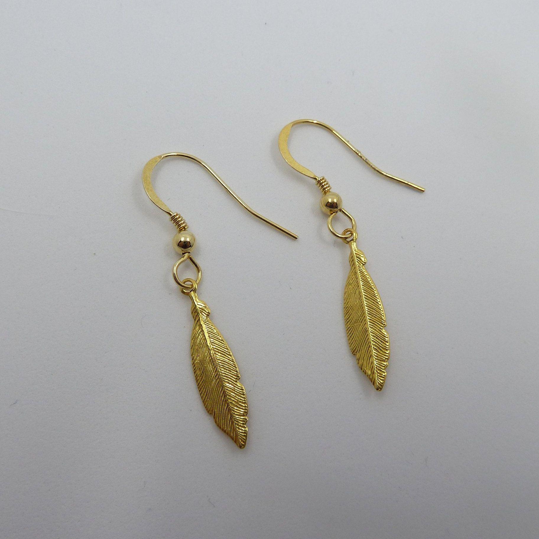 e1d4707768e5 Pendientes de pluma en plata de ley o baño oro