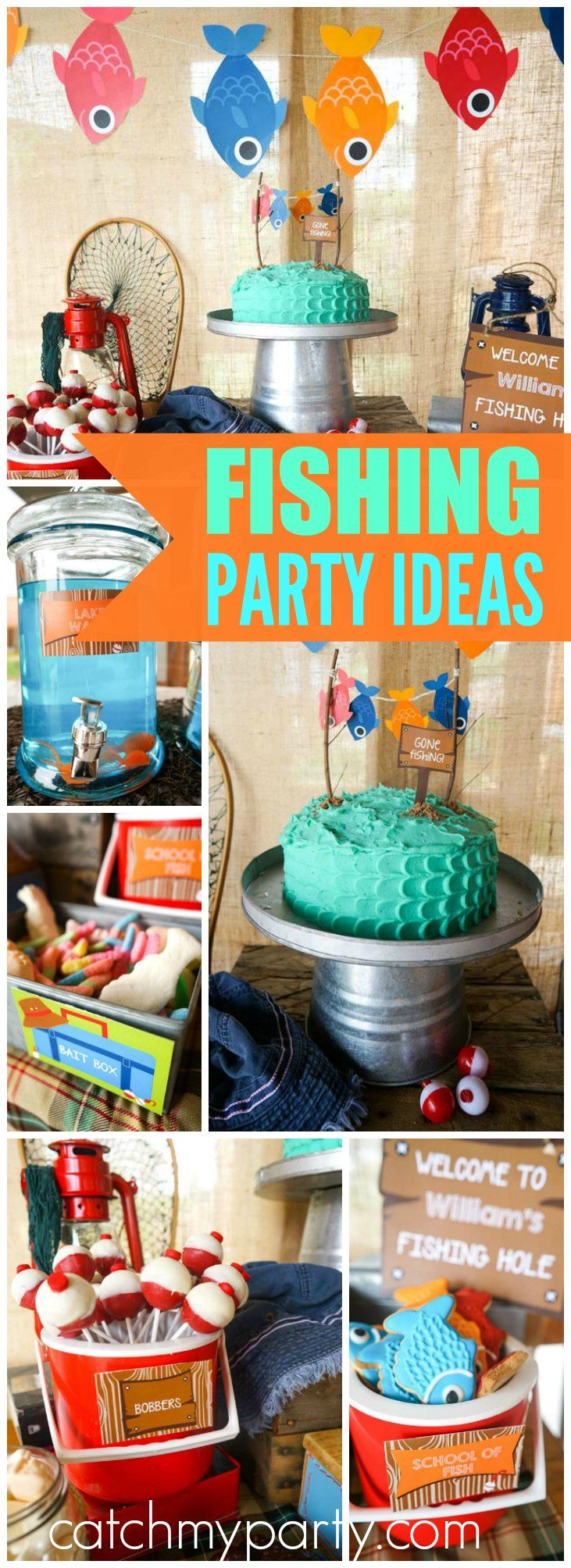 Fishing party birthday william 39 s gone fishing party for Fish party decorations
