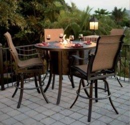 Outdoor Bar Height Dining Fire Pit Table With Images Cast