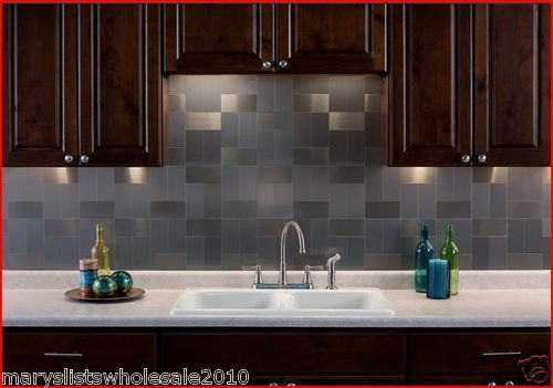 Aspect L And Stick Metal Brushed Aluminum Tile Backsplash Very Cool Looks Easy To Do