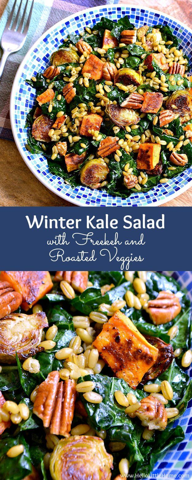 Winter Kale Salad With Freekeh And Roasted Veggies