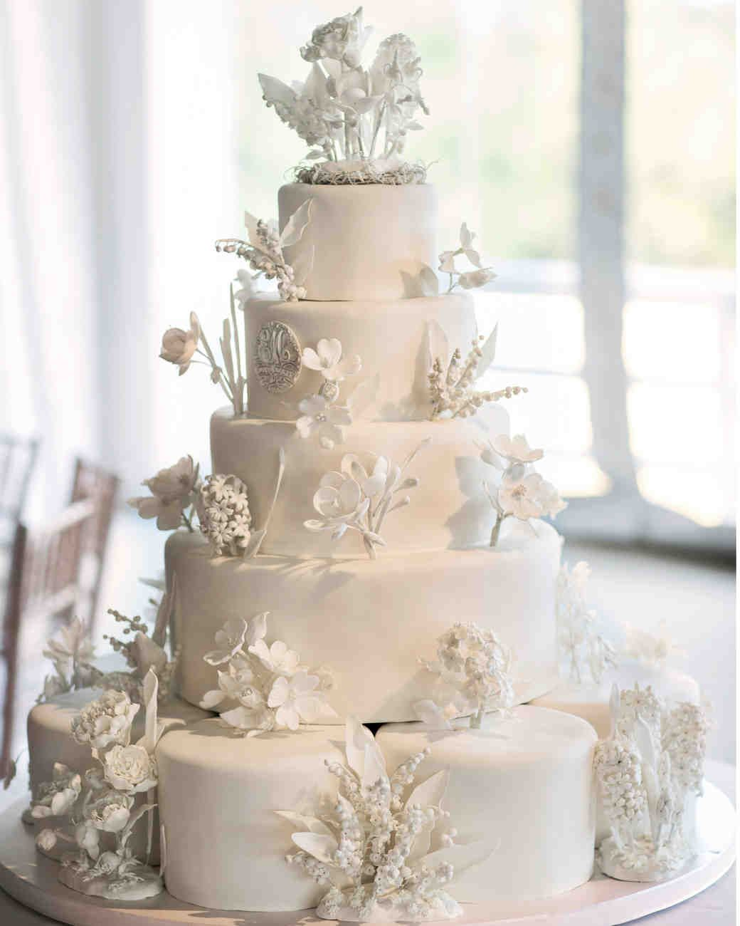 Five Tiered White Wedding Cake With 3D Edible Hand Crafted Flowers