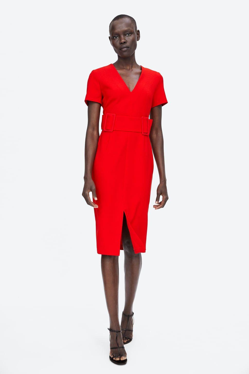Image 1 Of Belted Sheath Dress From Zara Zara Fashion Stylish Outfits Pattern Fashion