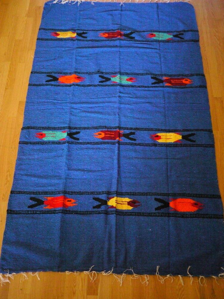 Hand Woven Mexican Blanket, Fish Design, Mexican Rug, Baja California, Boho  Home