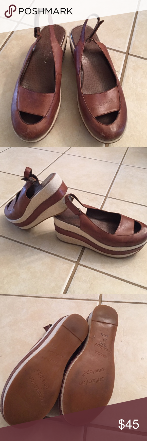 Antelope closed toe wedges Good condition, some normal wear, see pictures, beautiful versatile rust/nutmeg color. Velcro adjustable strap. Size equates to a 7.5/8. antelope Shoes Wedges