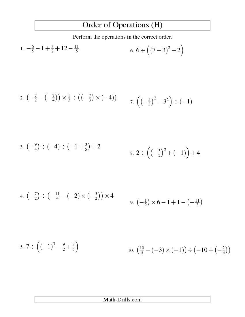 Worksheets Order Of Operations With Fractions Worksheet order of operations with fractions four steps including negative h