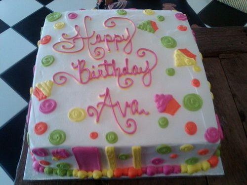 Square With Lettering Childrens Birthday Cakes Ideas