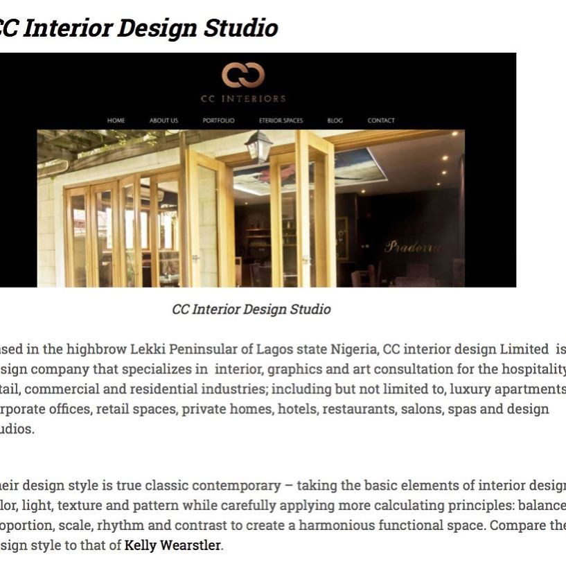Congratulations to us CC Interiors Studio on being named one the of