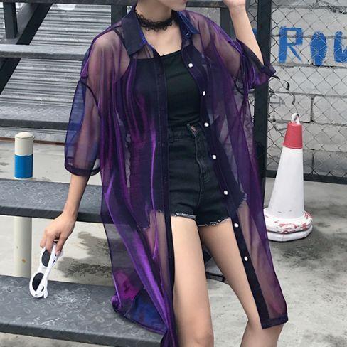 "Harajuku transparent gradient blouse jacket SE10218""Coupon code ""Fatma""for 10% off"" Invite"